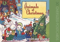 Animals at Christmas Postcard Book